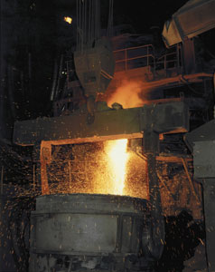 Electric arc furnace tapping